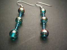 Aqua crackle with seed beads dangle earrings by heartshapedyarn