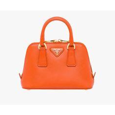 PRADA Small Bag ($1,260) ❤ liked on Polyvore featuring bags, handbags, shoulder bags, new arrivals, papaya, women, orange leather purse, mini shoulder bag, orange leather handbag and mini handbags