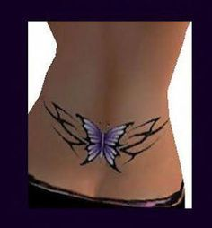 Unique Tattoos Can Make Your Sexy And Fashionable. Blue Butterfly Tribal Lower Back Tattoo. Lower Back Tattoos For Girls 2012 Black Female. Tattoo Girls, Girl Back Tattoos, Small Girl Tattoos, Tattoos For Kids, Back Tattoo Women Spine, Back Tattoos Spine, Cover Up Tattoos, Lower Back Tattoos, Neck Tattoos