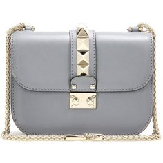 Valentino Valentino Garavani Lock Small Leather Shoulder Bag (11305875 PYG) ❤ liked on Polyvore featuring bags, handbags, shoulder bags, valentino, bolsas, clutches, crossbody bags, grey, hand bags and leather hand bags