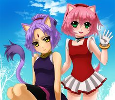 """Blaze and Amy in """"human"""" forms. The clothes are the ones they use in Mario & Sonic at the London 2012 Olympic Games. Blaze and Amy Sonic The Hedgehog, Silver The Hedgehog, Shadow The Hedgehog, Amy Rose, Fluttershy, Sonic Y Amy, Sonic The Movie, Sonic Fan Characters, Anime Version"""
