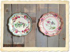 4 Vintage Serveerborden - Het Zijstraatje (such a shame they're just paper! :)