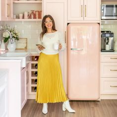 The JHD Office Reveal You Have Been Waiting for is Finally Here! Smeg Fridge, Pink Office, Jillian Harris, Hickory Wood, Office Space Design, Panel Moulding, Studio Kitchen, White Countertops, Calacatta