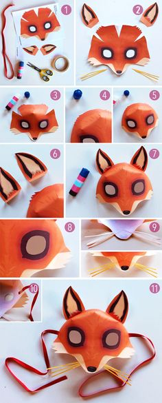 Be a Fox in 5 minutes - Try our easy fox mask template and costume idea! Renard Costume, Kids Crafts, Fork Crafts, Printable Animal Masks, Animal Mask Templates, Diy Paper, Paper Crafts, Fox Mask, Origami Tutorial