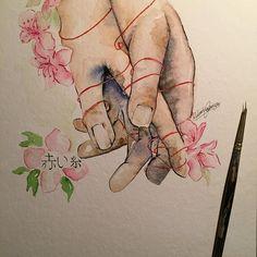 """【rproberta】さんのInstagramをピンしています。 《 赤い糸 Akai ito  """"La leggenda giapponese racconta che fin dalla nostra nascita ciascuno di noi porta legato al mignolo della mano sinistra un filo rosso. Questo filo ci lega alla persona a cui siamo destinati, alla nostra anima gemella, al nostro grande amore. Le due anime sono legate da questo filo, non importa la distanza temporale o spaziale che li divide, niente e nessuno può impedire loro di incontrarsi. Il filo rosso non si può spezzare, né si può ..."""