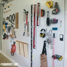 A pegboard organization wall is an easy way to store your workshop tools.  There's a lot of wall in the workshop and you know don't like to waste space.