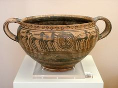 Argive Geometric kantharos with horses    From Argos.  Middle Geometric II (800-750 BCE).  Argos, Archaeological Museum, C 33.    On display in the Museum of the History of the Olympic Games in Antiquity. by diffendale, via Flickr