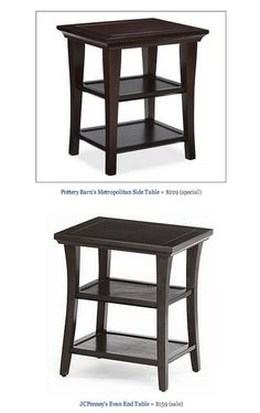 COPY CAT CHIC FIND: Pottery Barn's Metropolitan Side Table VS JCPenney's Evan End Table