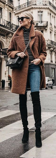 Black Thigh High Boots / Camel Coat / High Waist Jeans Outfits