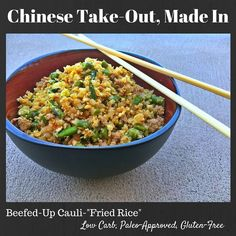 """Chinese Take Out, Made In- A """"Fried Rice"""" recipe, with NO RICE, NO OIL & NO MSG!"""