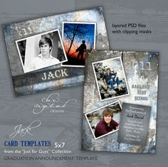 Graduation Announcement Card Template for Photographers - Just for Guys Senior Graduation Invitation - JACK