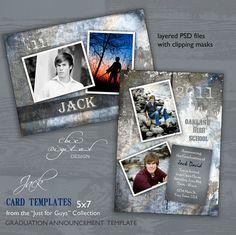 Graduation Announcement Card Template for Photographers - Just for Guys Senior Graduation Invitation - JACK