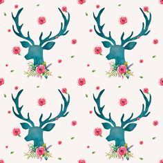Floral Aqua Deer with Roses fabric by shopcabin on Spoonflower - custom fabric