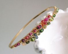 Lleno de arco iris piedras preciosas oro pulsera por bellajewelsII