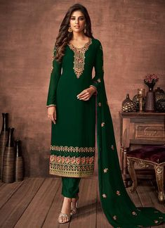 Buy Green Multi Embroidered Salwar Kameez In USA, UK, Canada, Australia, Newzeland online