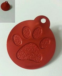 $0.99 Personalized Large Red Paw Print Dog Pet Tag Free Engraving Anodized Aluminum | eBay