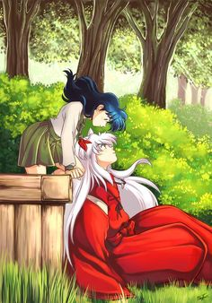 Kagome Higurashi, a schoolgirl and the half dog-demon, Inuyasha. Inuyasha E Kagome, Amor Inuyasha, Kagome And Inuyasha, Kagome Higurashi, Kirara, Inuyasha Fan Art, Anime Love, Awesome Anime, Anime Cosplay
