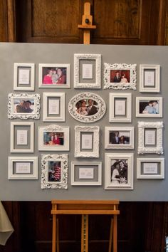 Our #wedding Seating Plan - White frames on a silver grey board featuring some of our favourite photos as a couple.