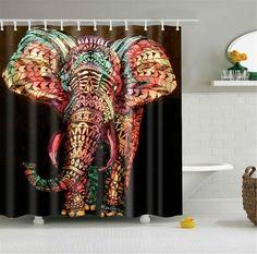 Colorful Mandala Elephant Shower Curtain The Yoga Mandala Store elephant bathroom decor - Bathroom Decoration Elephant Bathroom Decor, Elephant Shower Curtains, Custom Shower Curtains, Bathroom Shower Curtains, Fabric Shower Curtains, Downstairs Bathroom, Master Bathroom, Mandalas Painting, Mandalas Drawing