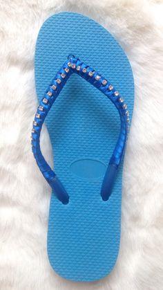 Sandals Ojotas Decoradas Brillos Shine Blue sky
