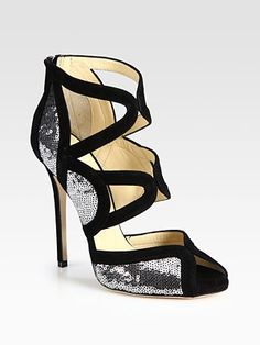 Jimmy Choo  Tempest Sequin and Suede Sandals