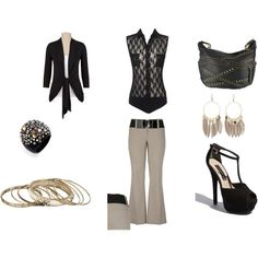 polyvore black and gold