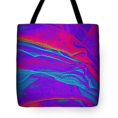 Photograph Then Digitized This Fabric Provides Color Tote Bag featuring the photograph Fabric Study Blue/ Red #2 Of Series Of 3 by Len-Stanley Yesh