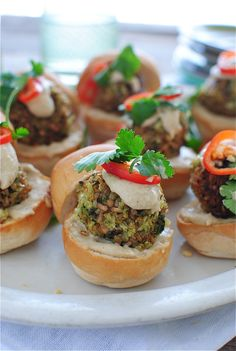 Curried Vegan Bulgur Sliders - These look delish! Could put them in gluten free pita bread.