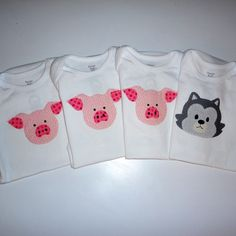 Three Little Pigs and Wolf Applique Onesies