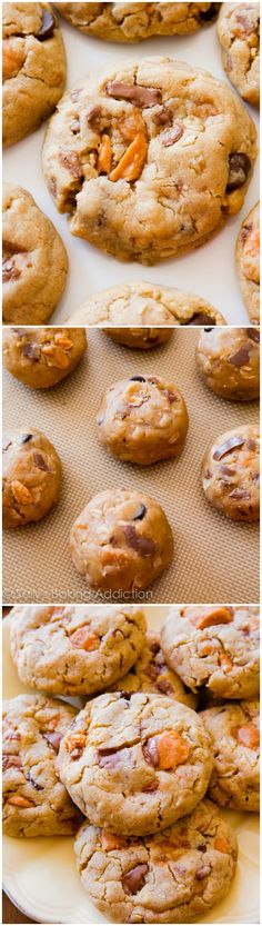 These peanut butter oatmeal cookies are absolutely loaded with butterfingers candy bars. They're super soft and ready in a snap!