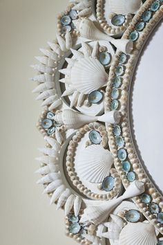 Ocean's Echo Seashell wreath by Marjorie Stafford Design Seashell Wreath, Seashell Art, Seashell Crafts, Seashell Frame, Seashell Projects, Sea Crafts, Shell Beach, Coastal Decor, Sea Shells