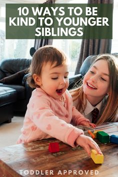 10 Ways to Be Kind to Younger Siblings! Simple and thoughtful ideas for toddlers, preschoolers, and elementary aged kids! Infant Activities, Educational Activities, Preschool Activities, Kindness Projects, Kindness Activities, Silly Games, Kindness Challenge, Advice For New Moms, Kids Behavior