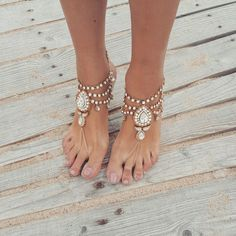 ❤A PAIR of Stylish, Sparkly Wedding Barefoot Sandals with Shimmer❤  These KEEVA design soleless sandals are a decadent adornment for the bride that