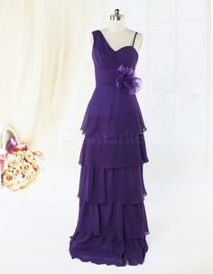 Spaghetti Chiffon Purple Floor Length Evening Dress with Layer | OKmarket.com
