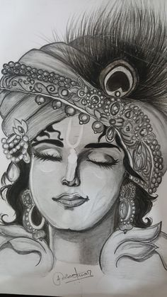It's made by me, hope you like it 🙂 Pencil Drawing Images, Abstract Pencil Drawings, Realistic Pencil Drawings, Girly Drawings, Art Drawings Sketches Simple, Krishna Art, Krishna Painting, Krishna Drawing, Doodle Art Designs