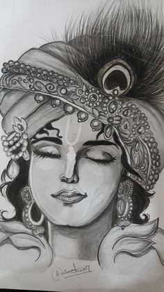 It's made by me, hope you like it 🙂 Pencil Drawing Images, Abstract Pencil Drawings, Pencil Drawing Inspiration, Landscape Pencil Drawings, Realistic Pencil Drawings, Krishna Drawing, Krishna Painting, Krishna Art, Lord Krishna