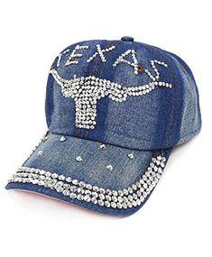 Nollia Texas Team Jeans Denim Bling Baseball Cap Denim Cap 707ee49dd558