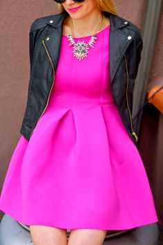 Bold Magenta! Love this classic dress paired with a statement necklace and moto jacket.