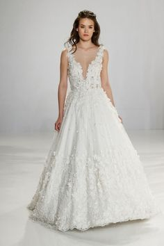 Tony Ward V-Neck Ball Gown in Tulle and Silk Embroidery | KleinfeldBridal.com