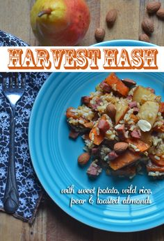 Harvest Hash recipe with sweet potato, pear, wild rice and toasted almonds. You could also add pork or turkey sausage, kielbasa or venison sausage. Venison Sausage Recipes, Turkey Sausage, Pork Recipes, Dinner Dishes, Main Dishes, Ground Venison, Hash Recipe, Kielbasa, Toasted Almonds