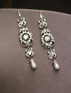 Swarovski Bridal Earrings Pearl earrings Crystal by simplychic93, $64.00