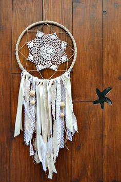 Atrapasueños Rústico Crochet Encaje Blanco y por handANAhada