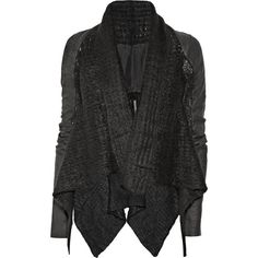 Rick Owens Leather-sleeved mohair-blend jacket ($665) ❤ liked on Polyvore