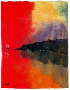 """ Emil Nolde Seacoast (Red Sky, Two White Sails) """