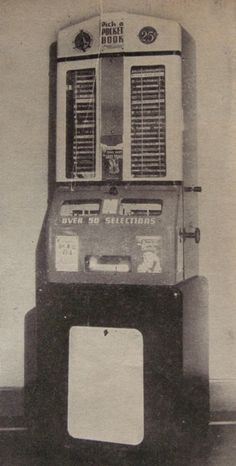 """""""book-o-mat"""" -- From post: """"Popular Science Monthly,  Vol. 150: No. 6, June 1947    So far, this is the earliest book vending machine I have seen reference to. It holds 150 25-cent books.  Even though I  am familiar with the ubiquitous newspaper vending machine, book vending machines are odd."""" Click through for more."""
