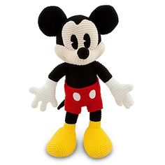 "Disney Parks Mickey Mouse Crochet Knit 16"" Plush Doll NEW"