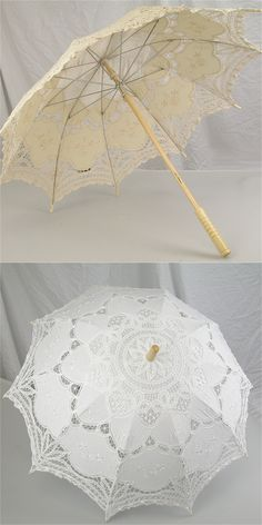 New Fashion and Hot Selling  Handmade Cotton Lace Parasol Umbrella Bride Wedding Practical Present lvory/White
