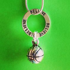 "Sporty Girl Basketball Necklace- ""Believe"" Circle on Etsy, $17.00"