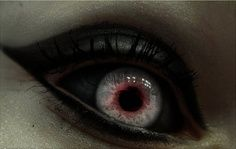 Most people have white sclera for their eyes... Diz has black. Not sure why, but it's there! Another creepy facet.