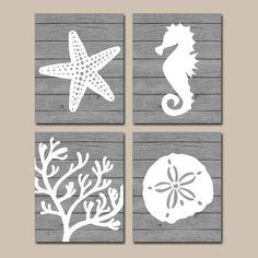 Beach BATHROOM Wall Art, CANVAS or Prints, Nautical Coastal Bathroom Decor, Aqua Starfish Seahorse, Coral Reef, Wood from TRM Design. Saved to Home Decor.